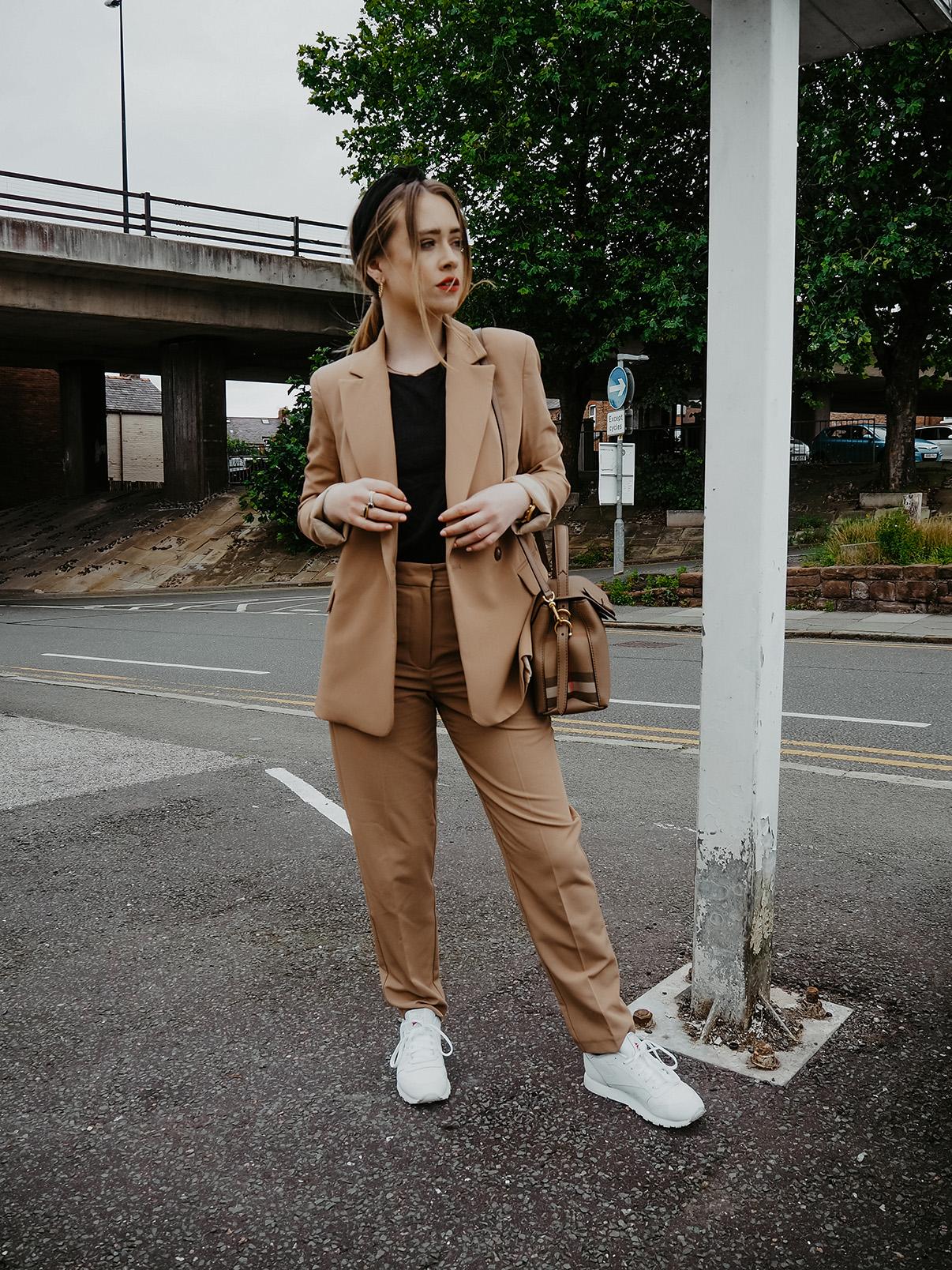 camel suit autumn styling