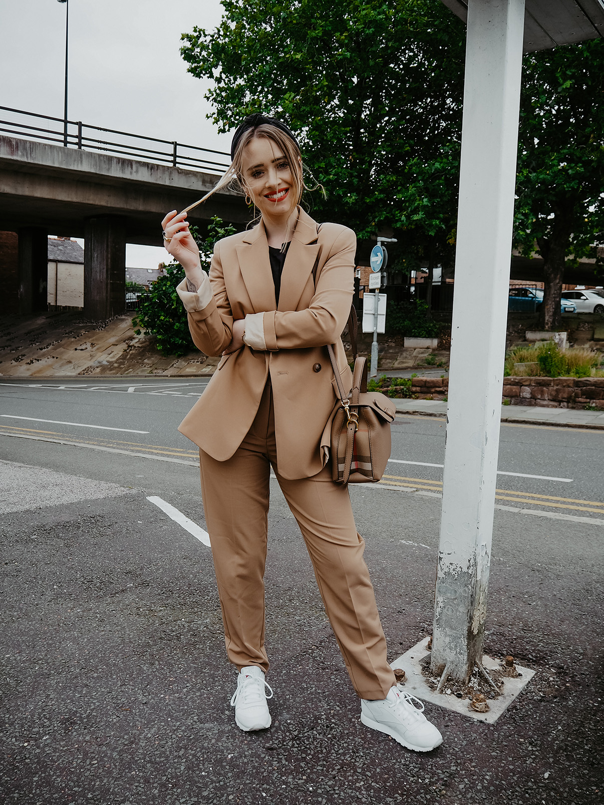 blogger lucy love styles camel suit