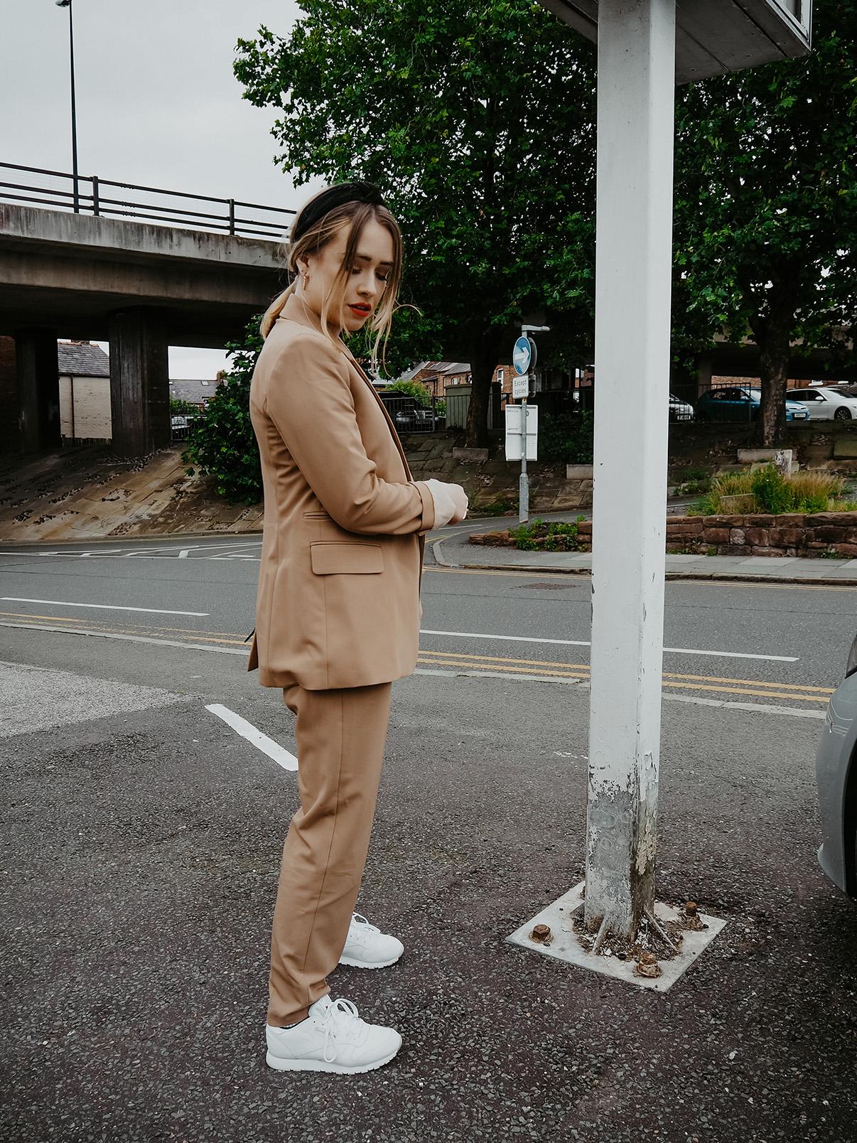 topshop camel suit
